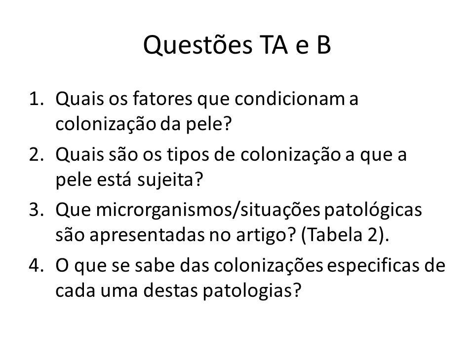 Questões TA e B Quais os fatores que condicionam a colonização da pele Quais são os tipos de colonização a que a pele está sujeita