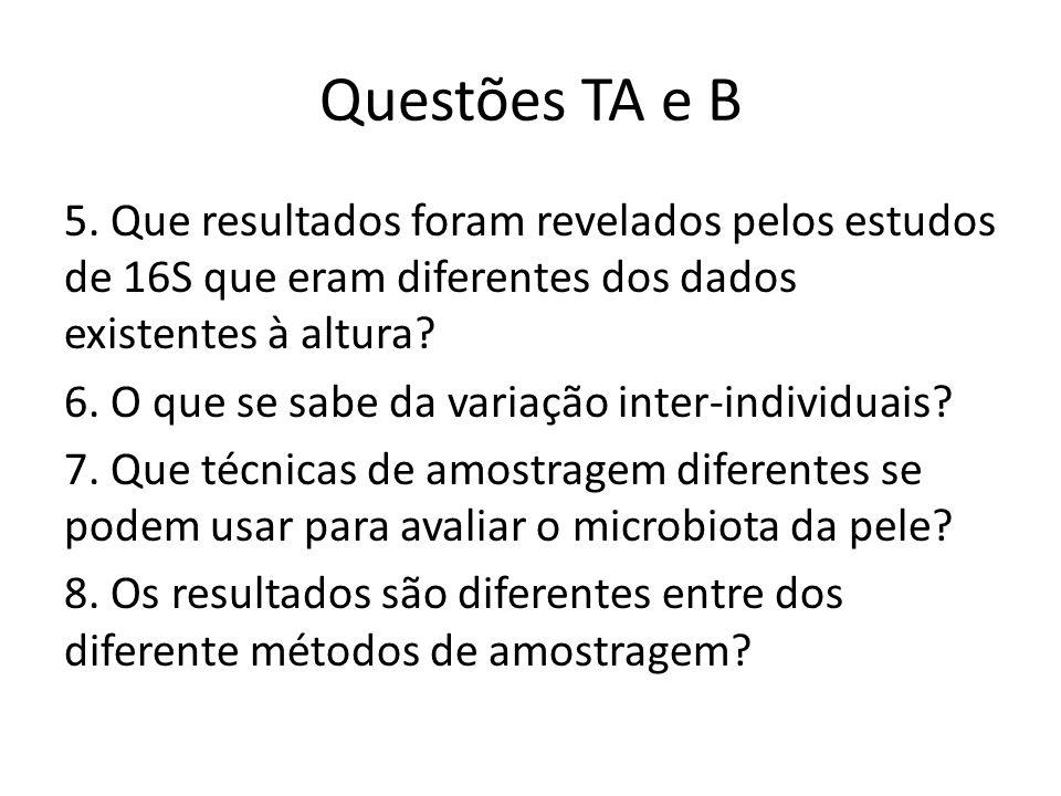 Questões TA e B 5. Que resultados foram revelados pelos estudos de 16S que eram diferentes dos dados existentes à altura