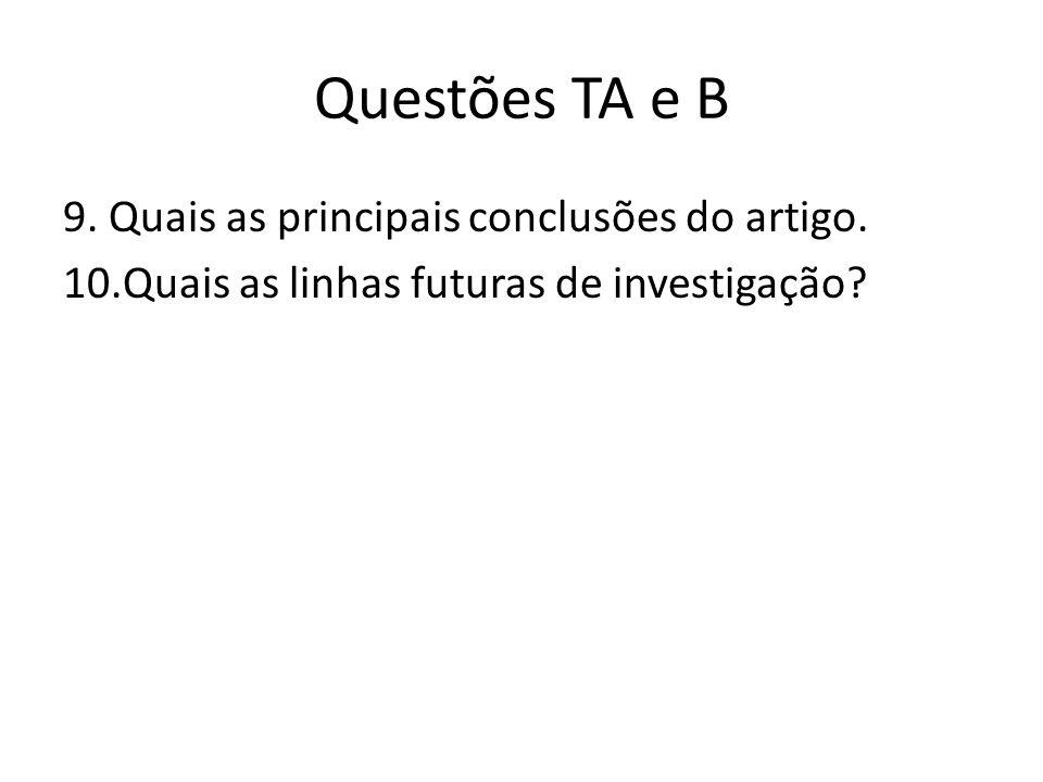Questões TA e B 9. Quais as principais conclusões do artigo.