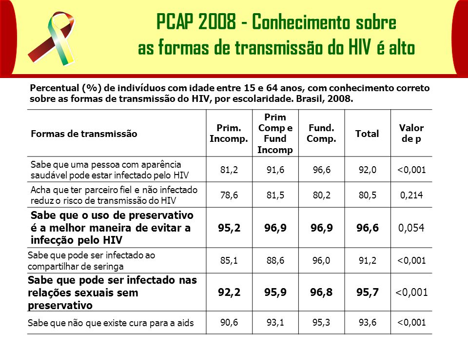 PCAP 2008 - Conhecimento sobre as formas de transmissão do HIV é alto