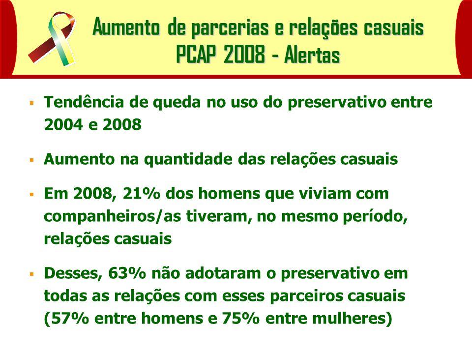Aumento de parcerias e relações casuais PCAP 2008 - Alertas