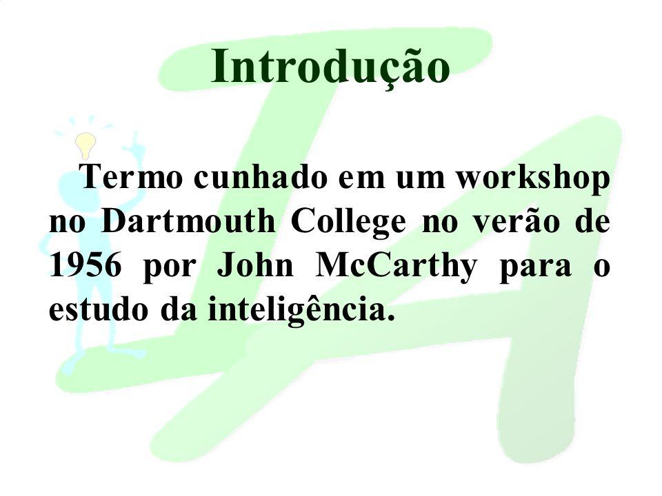 Introdução Termo cunhado em um workshop no Dartmouth College no verão de 1956 por John McCarthy para o estudo da inteligência.