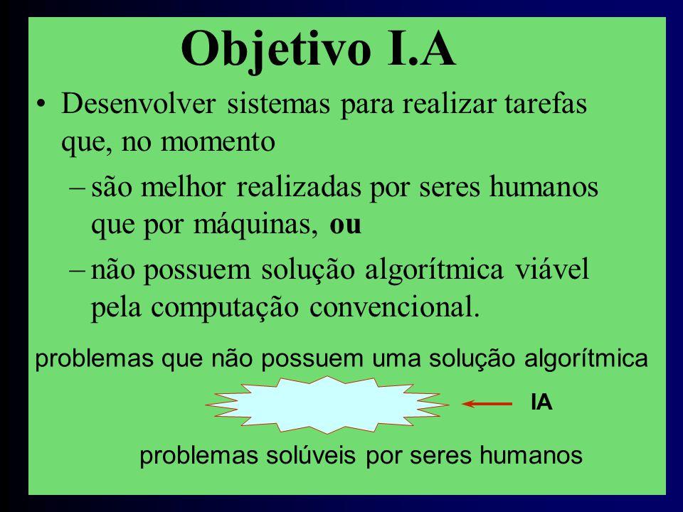 Objetivo I.A Desenvolver sistemas para realizar tarefas que, no momento. são melhor realizadas por seres humanos que por máquinas, ou.