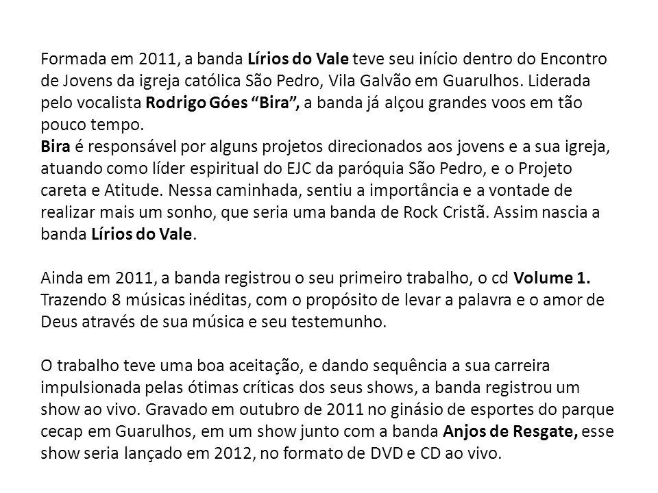 Formada em 2011, a banda Lírios do Vale teve seu início dentro do Encontro de Jovens da igreja católica São Pedro, Vila Galvão em Guarulhos.