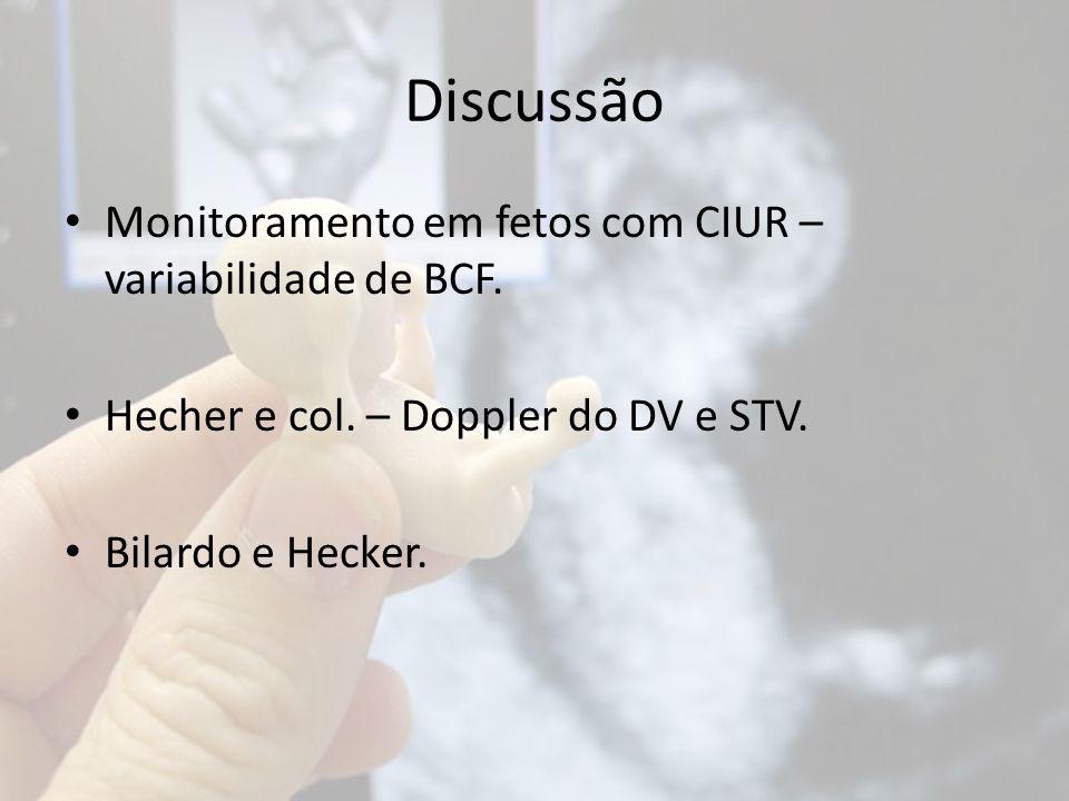 Discussão Monitoramento em fetos com CIUR – variabilidade de BCF.