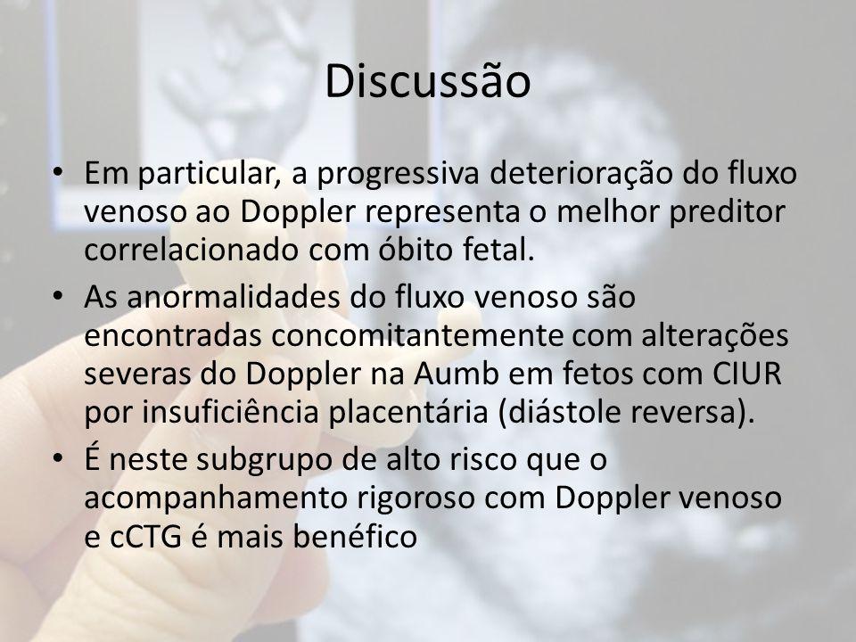 Discussão Em particular, a progressiva deterioração do fluxo venoso ao Doppler representa o melhor preditor correlacionado com óbito fetal.