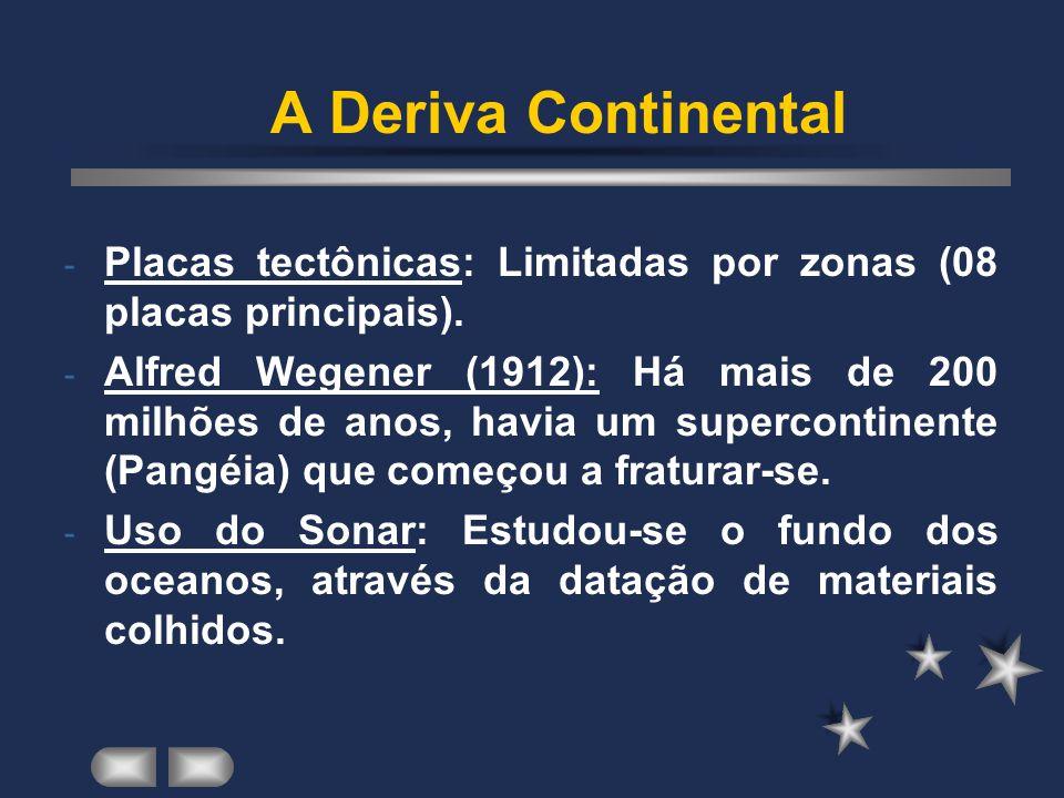 A Deriva Continental Placas tectônicas: Limitadas por zonas (08 placas principais).