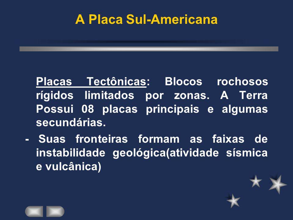 A Placa Sul-Americana Placas Tectônicas: Blocos rochosos rígidos limitados por zonas. A Terra Possui 08 placas principais e algumas secundárias.