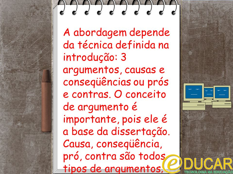 A abordagem depende da técnica definida na introdução: 3 argumentos, causas e conseqüências ou prós e contras.