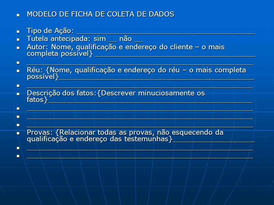 MODELO DE FICHA DE COLETA DE DADOS