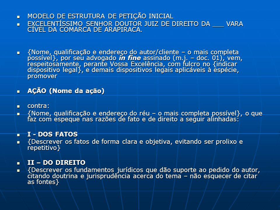 MODELO DE ESTRUTURA DE PETIÇÃO INICIAL