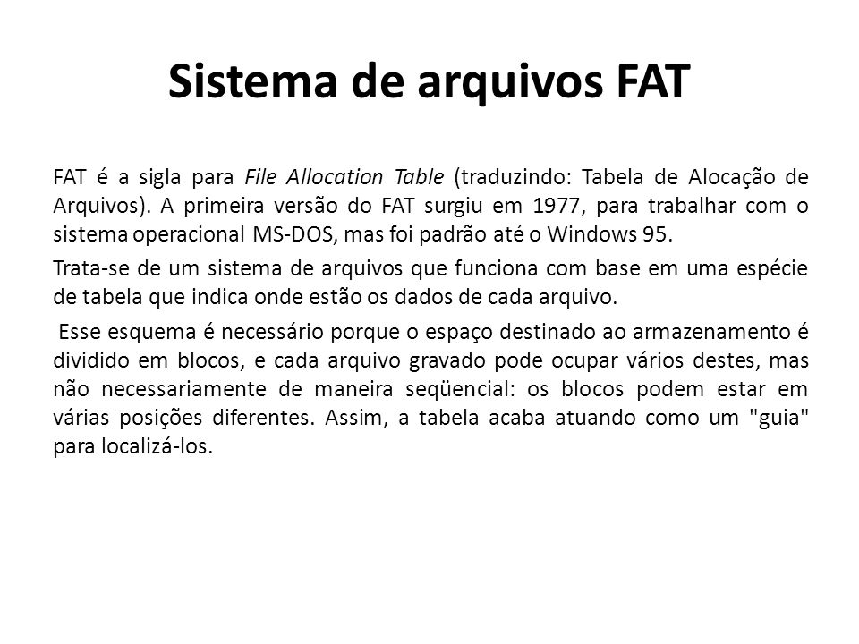 Sistema de arquivos FAT
