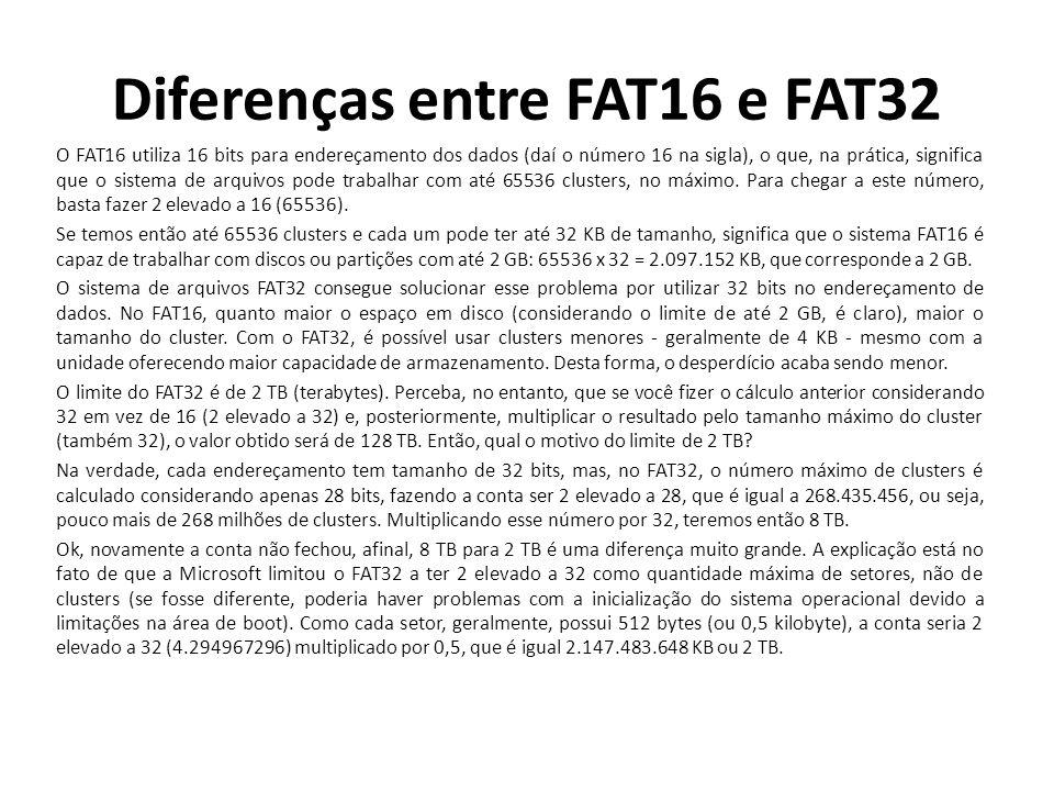 Diferenças entre FAT16 e FAT32