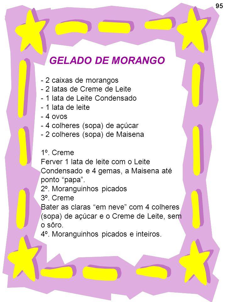 GELADO DE MORANGO 2 caixas de morangos 2 latas de Creme de Leite