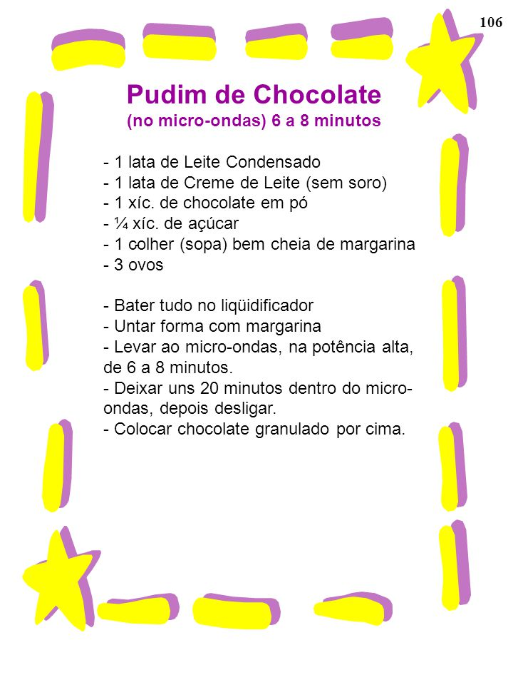 Pudim de Chocolate (no micro-ondas) 6 a 8 minutos