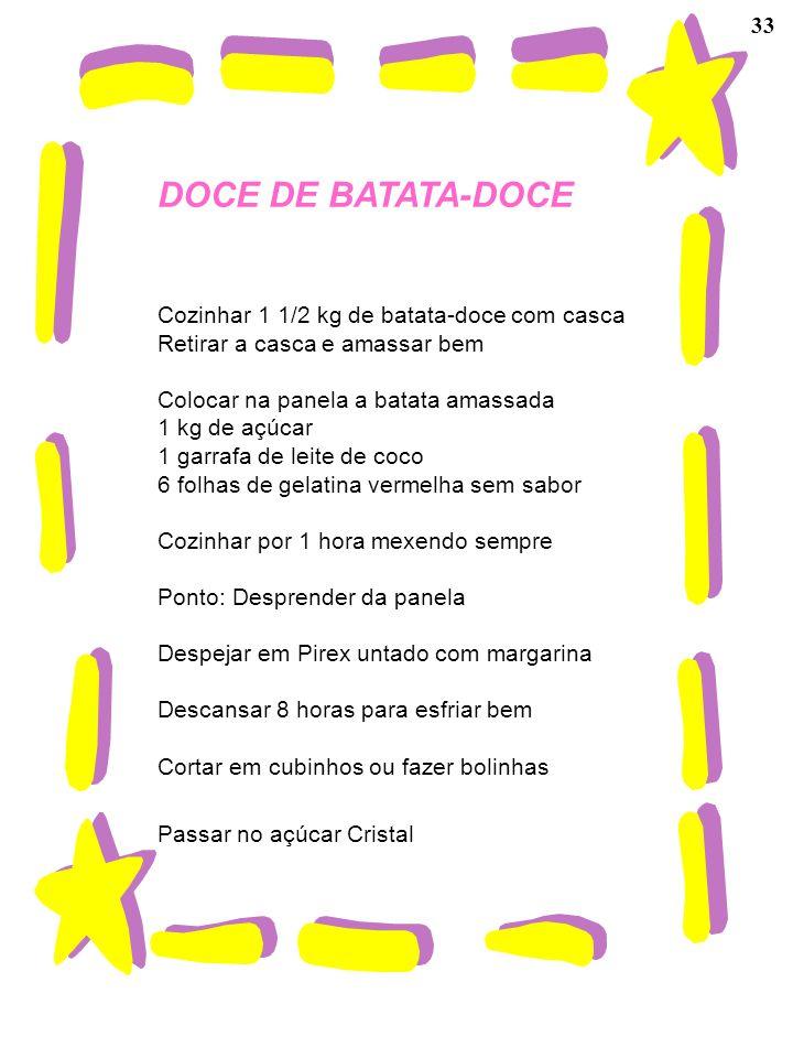 DOCE DE BATATA-DOCE 33 Cozinhar 1 1/2 kg de batata-doce com casca