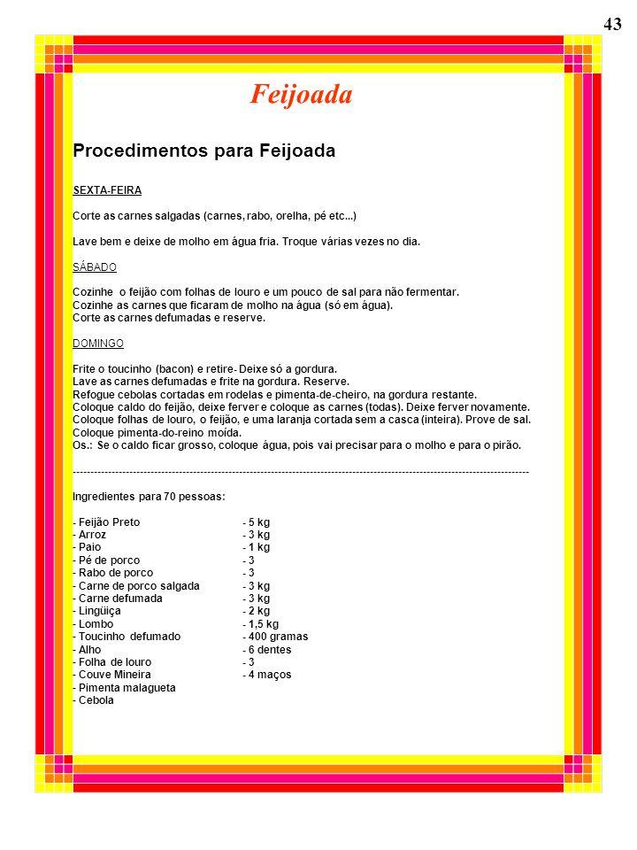 Feijoada 43 Procedimentos para Feijoada SEXTA-FEIRA