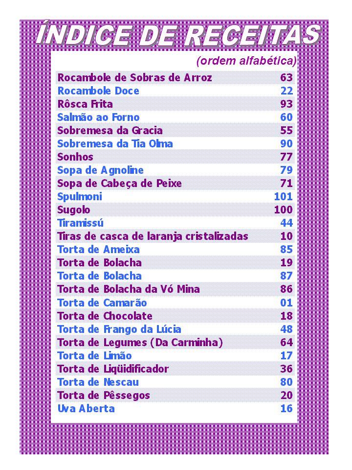 ÍNDICE DE RECEITAS (ordem alfabética)