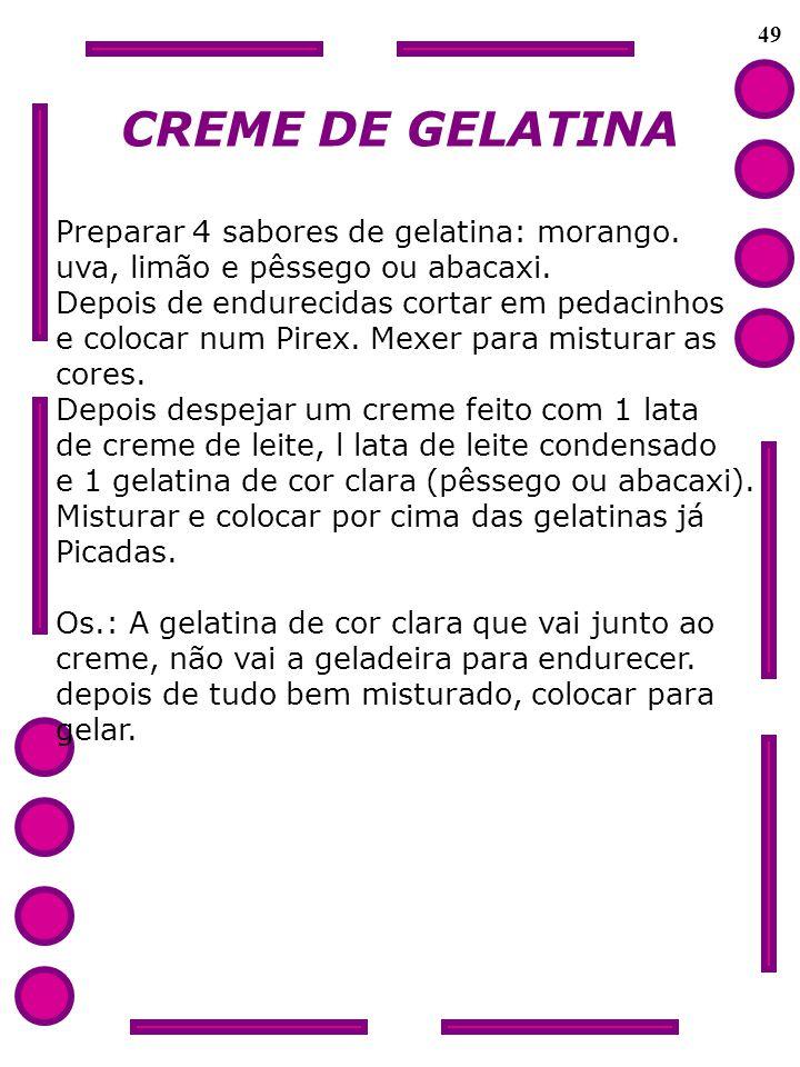 CREME DE GELATINA Preparar 4 sabores de gelatina: morango.