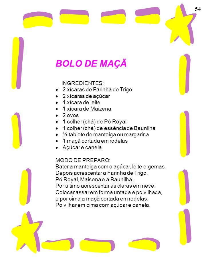 BOLO DE MAÇÃ 54 INGREDIENTES: · 2 xícaras de Farinha de Trigo