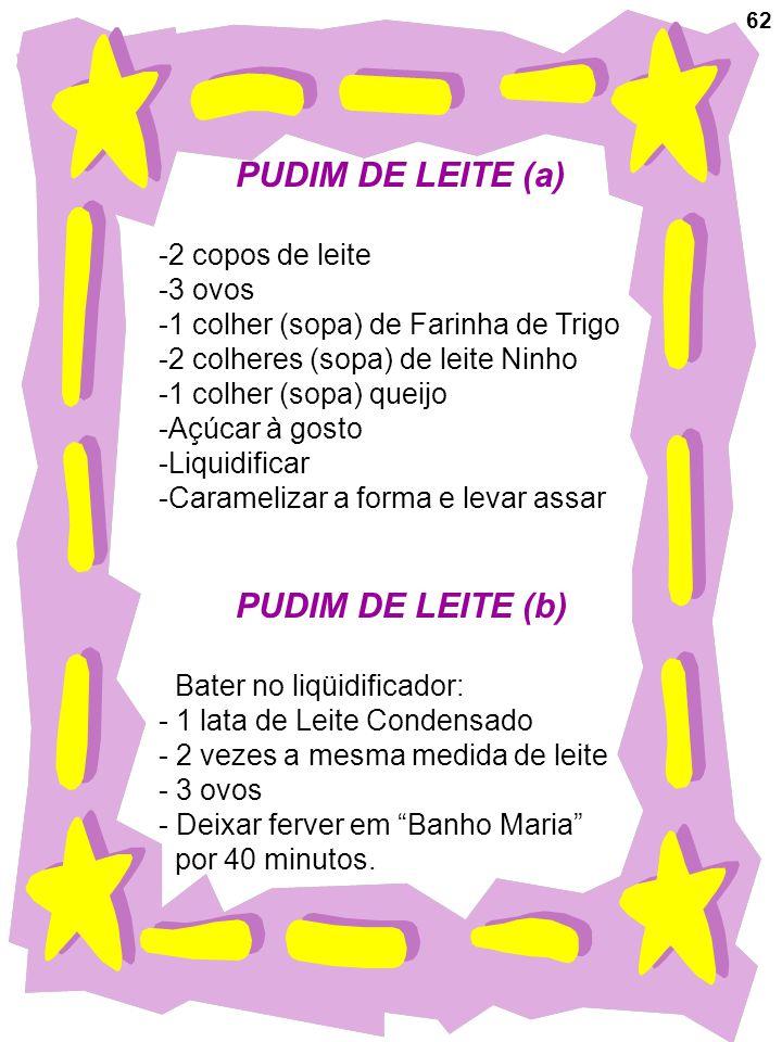 PUDIM DE LEITE (a) PUDIM DE LEITE (b) -2 copos de leite 3 ovos