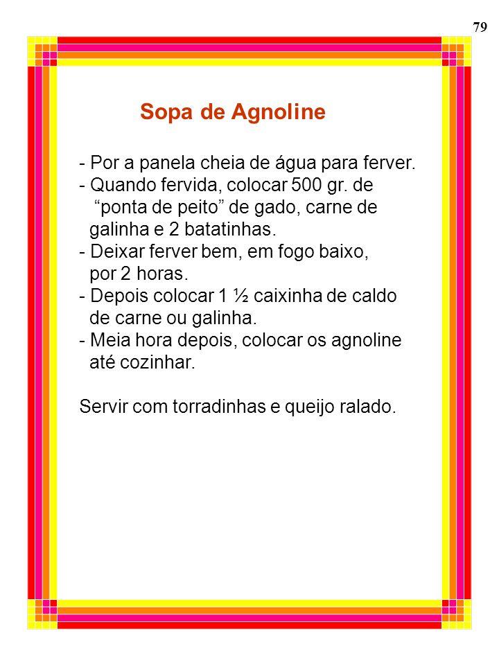 Sopa de Agnoline - Por a panela cheia de água para ferver.