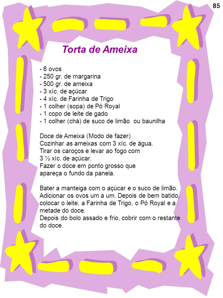 Torta de Ameixa 85 6 ovos 250 gr. de margarina 500 gr. de ameixa