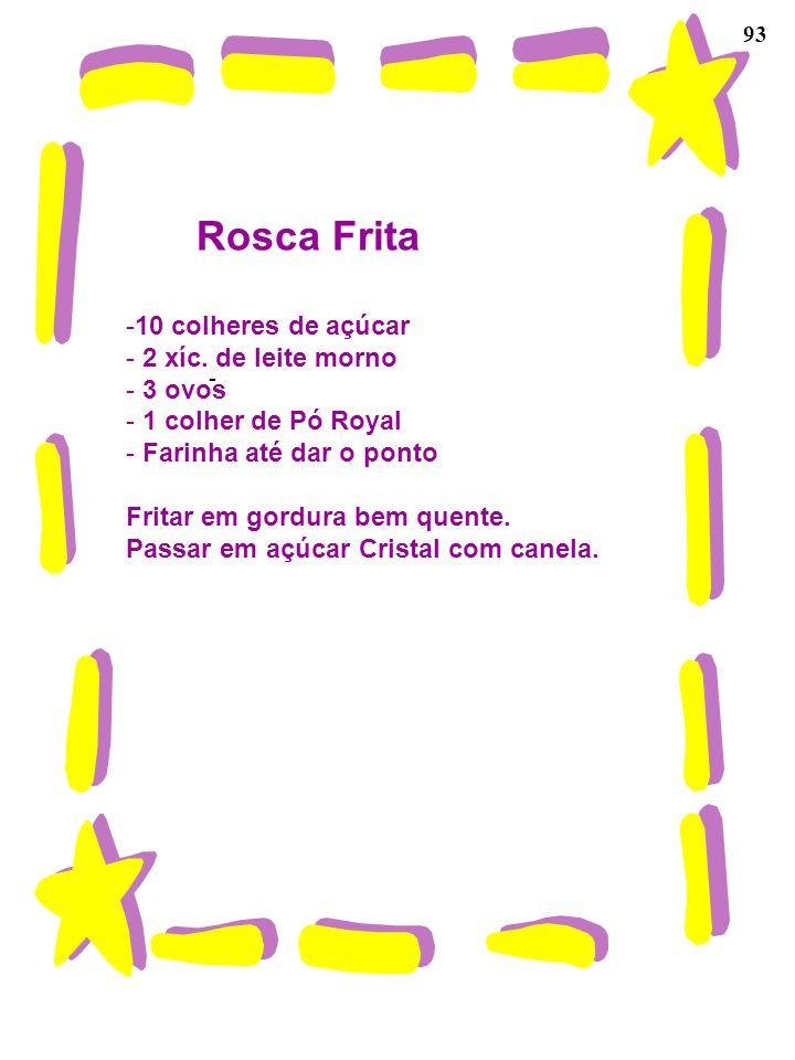 Rosca Frita 10 colheres de açúcar 2 xíc. de leite morno 3 ovos