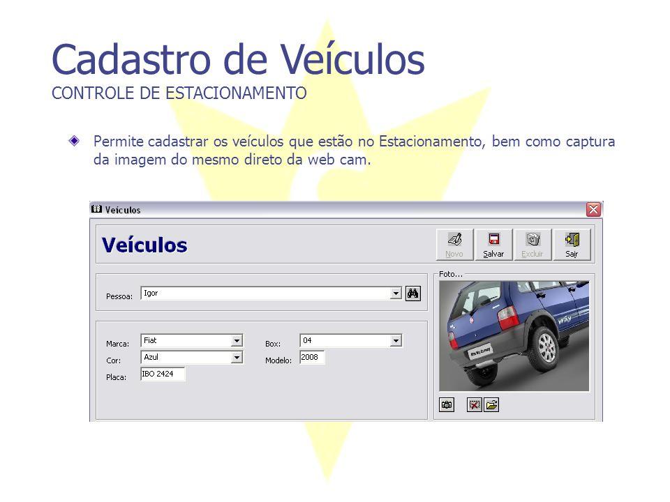 Cadastro de Veículos CONTROLE DE ESTACIONAMENTO