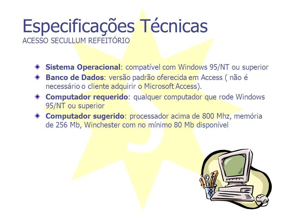 Especificações Técnicas ACESSO SECULLUM REFEITÓRIO