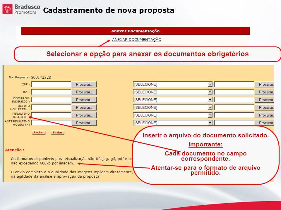 Selecionar a opção para anexar os documentos obrigatórios