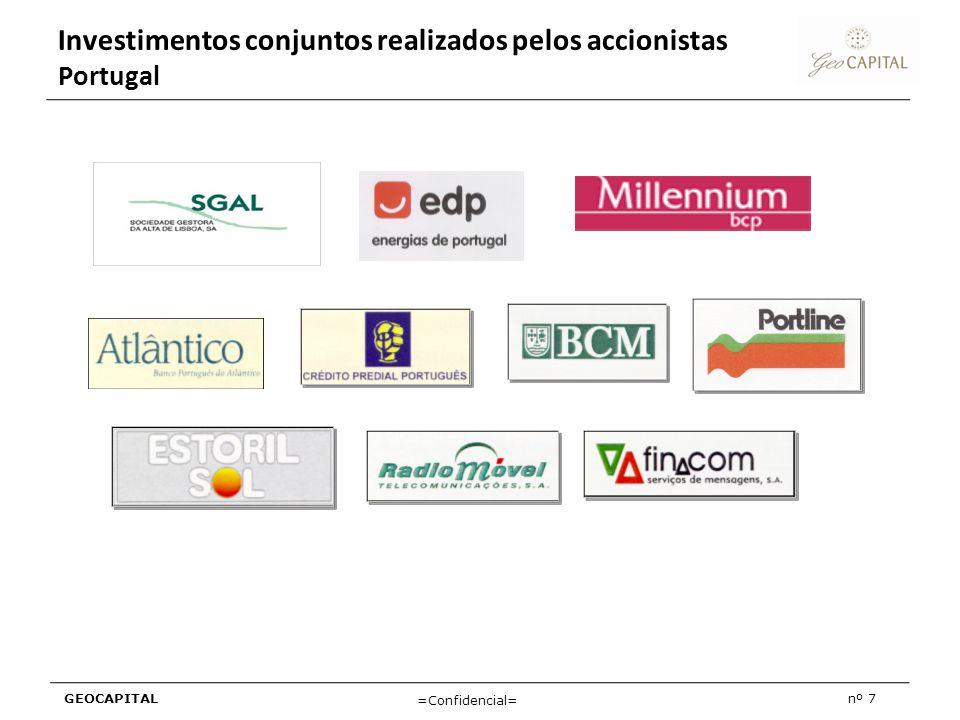 Investimentos conjuntos realizados pelos accionistas Portugal