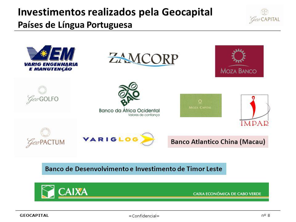 Investimentos realizados pela Geocapital Países de Língua Portuguesa