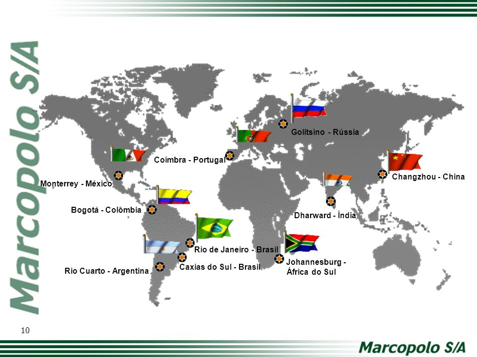 Golitsino - Rússia Coimbra - Portugal. Changzhou - China. Monterrey - México. Bogotá - Colômbia.