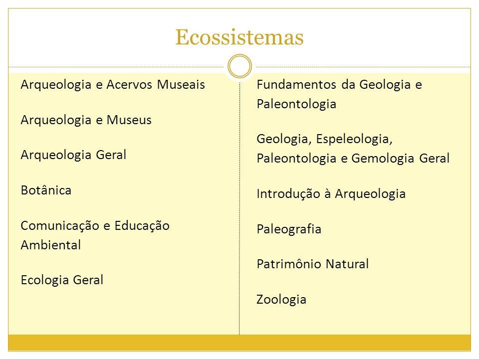 Ecossistemas Arqueologia e Acervos Museais Arqueologia e Museus Arqueologia Geral Botânica Comunicação e Educação Ambiental Ecologia Geral