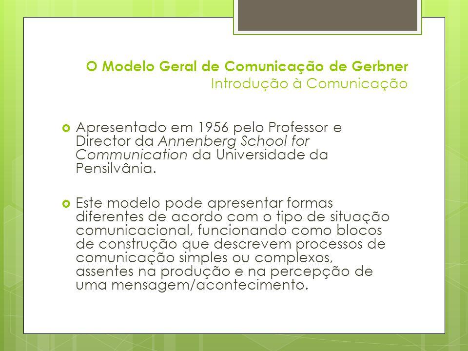 O Modelo Geral de Comunicação de Gerbner Introdução à Comunicação