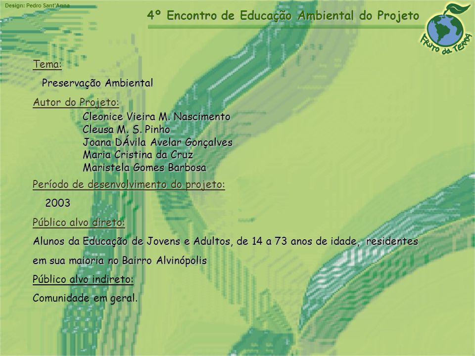 Tema: Preservação Ambiental. Autor do Projeto: Cleonice Vieira M. Nascimento. Cleusa M. S. Pinho.