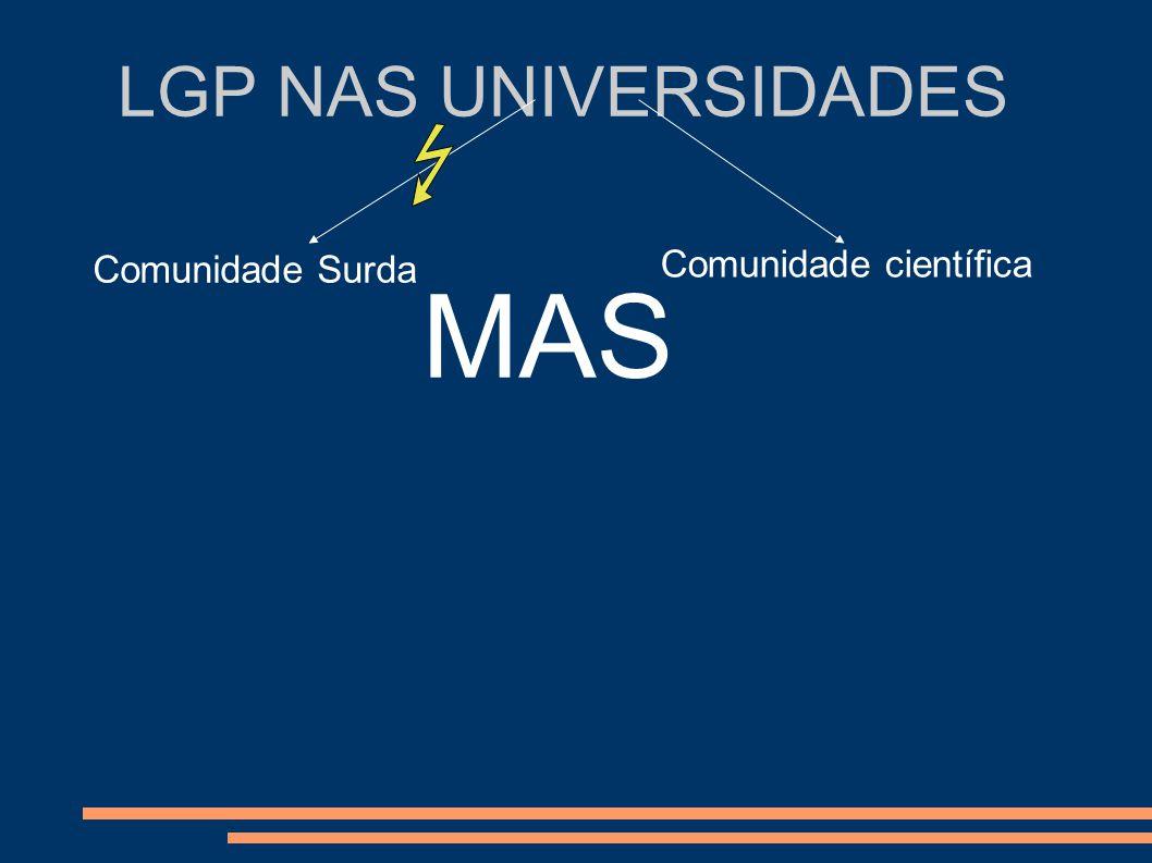 LGP NAS UNIVERSIDADES Comunidade Surda Comunidade científica MAS