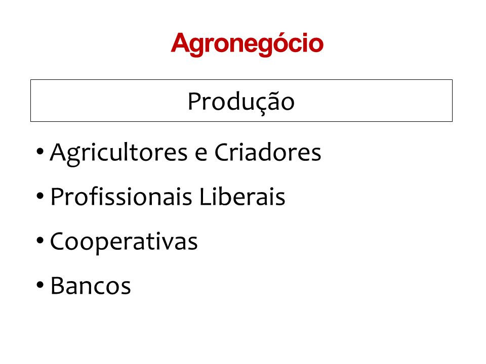 Agronegócio Produção Agricultores e Criadores Profissionais Liberais Cooperativas Bancos
