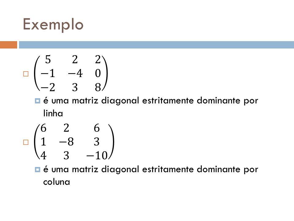 Exemplo 5 2 2 −1 −4 0 −2 3 8. é uma matriz diagonal estritamente dominante por linha. 6 2 6 1 −8 3 4 3 −10.