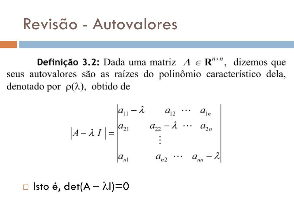 Revisão - Autovalores Isto é, det(A – lI)=0