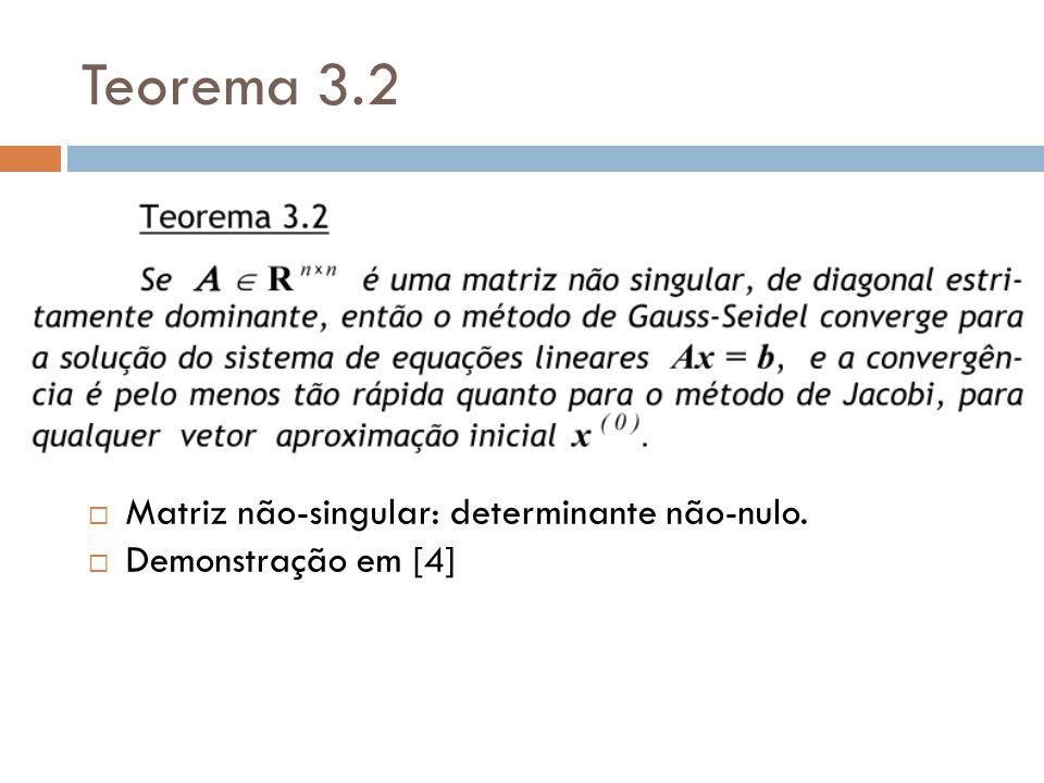 Teorema 3.2 Matriz não-singular: determinante não-nulo.