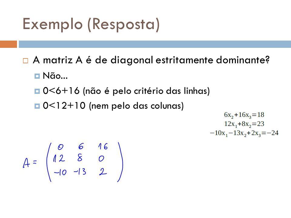 Exemplo (Resposta) A matriz A é de diagonal estritamente dominante