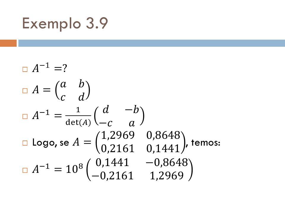 Exemplo 3.9 𝐴 −1 = 𝐴= 𝑎 𝑏 𝑐 𝑑 𝐴 −1 = 1 det(𝐴) 𝑑 −𝑏 −𝑐 𝑎