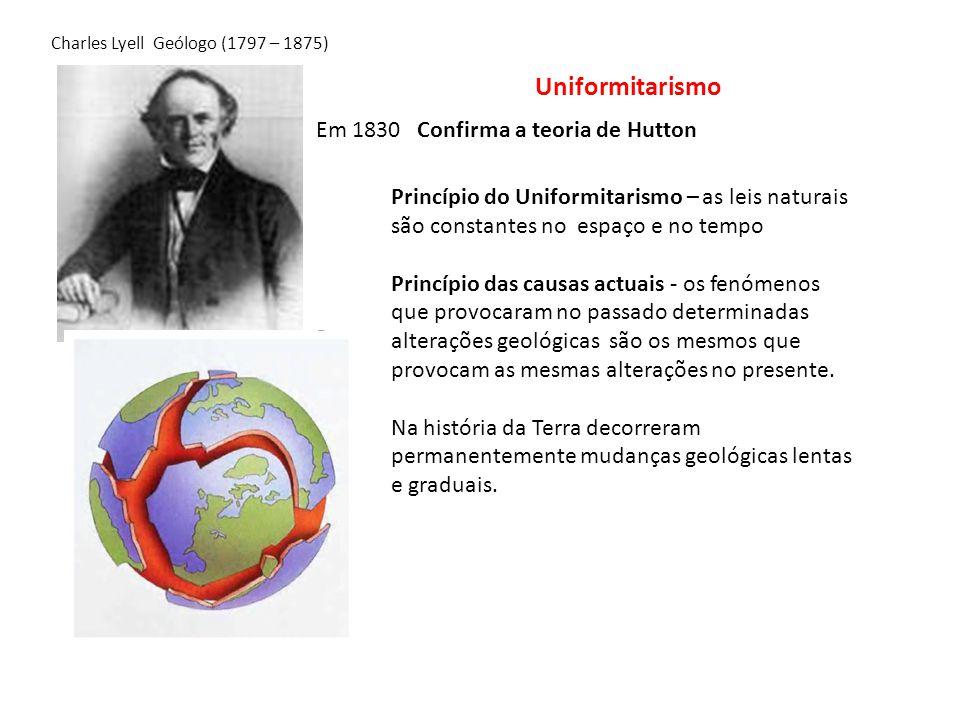 Uniformitarismo Em 1830 Confirma a teoria de Hutton