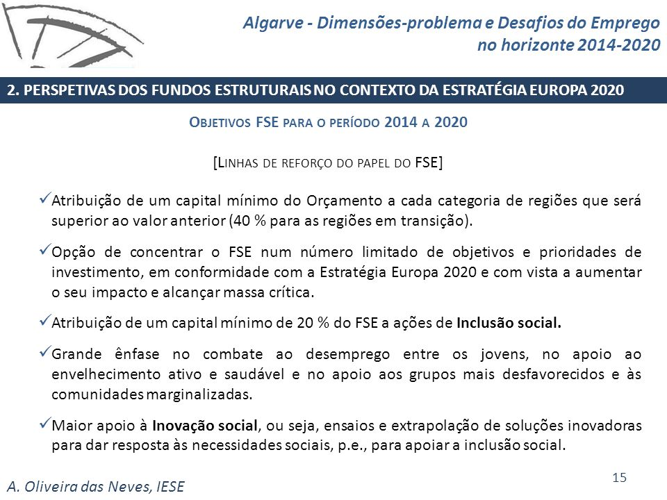Objetivos FSE para o período 2014 a 2020