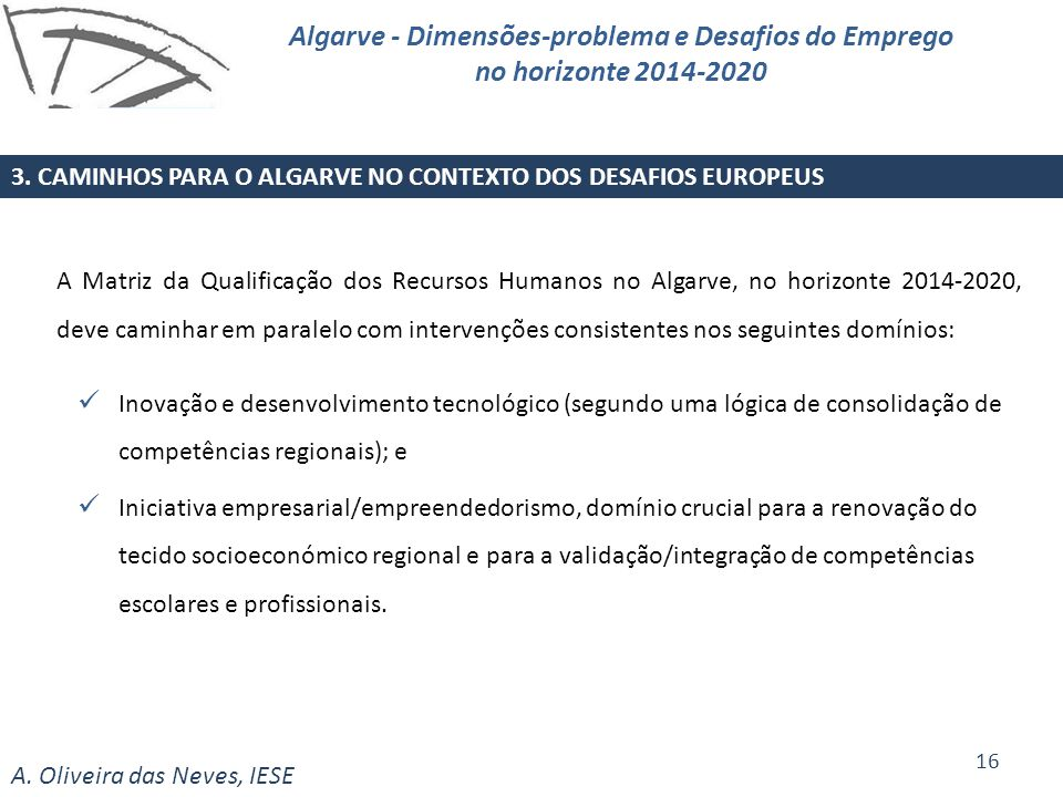 Algarve - Dimensões-problema e Desafios do Emprego