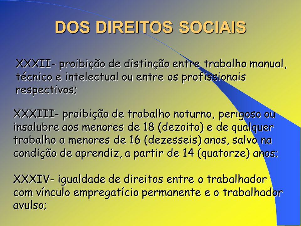 DOS DIREITOS SOCIAIS XXXII- proibição de distinção entre trabalho manual, técnico e intelectual ou entre os profissionais respectivos;