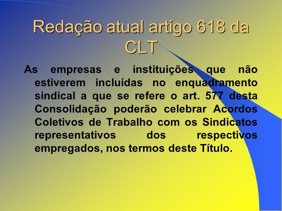 Redação atual artigo 618 da CLT
