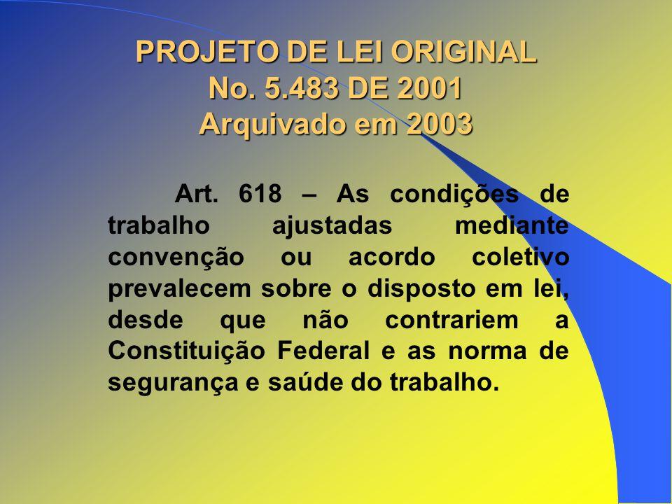 PROJETO DE LEI ORIGINAL No. 5.483 DE 2001 Arquivado em 2003